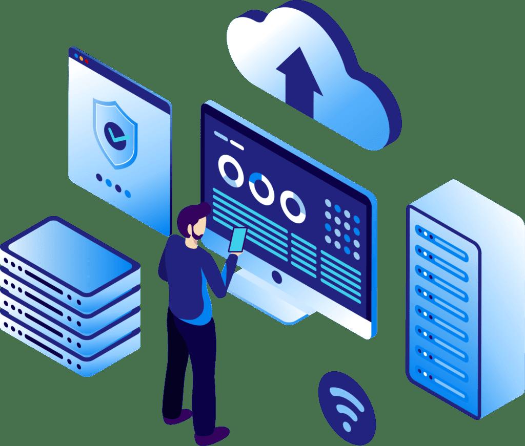 isometric web hosting vector illustration J73PNL7 - Sitios Web Actualizables